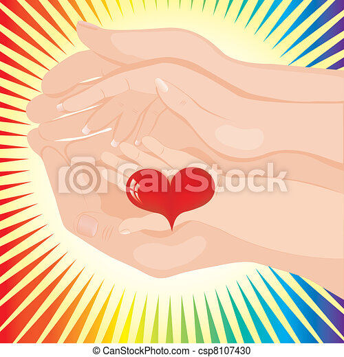 Baby's hand holding a heart between parents' - csp8107430