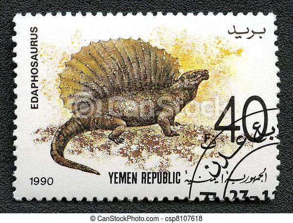 YEMEN REPUBLIC - CIRCA 1990: A stamp printed in Yemen shows Edaphosaurus, series devoted to prehistoric animals, circa 1990. - csp8107618