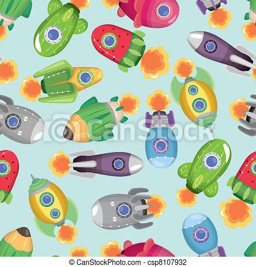 seamless spaceship pattern - csp8107932
