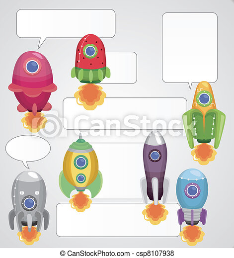 cartoon spaceship card - csp8107938