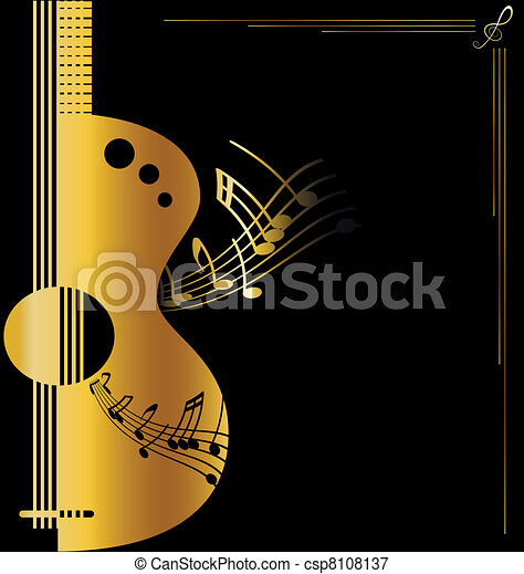 background golden guitar - csp8108137