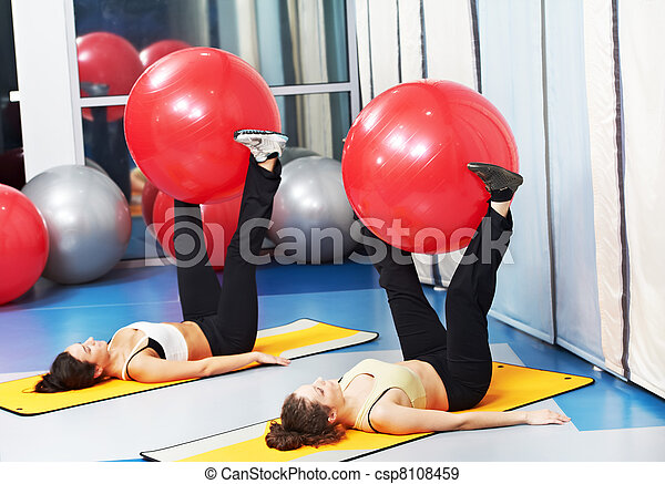 women at exercise with fitness ball - csp8108459