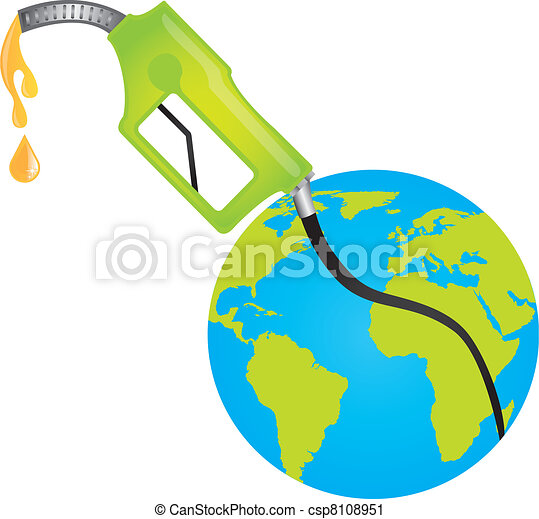 Vector Clip Art of fuel pump with planet over white ...