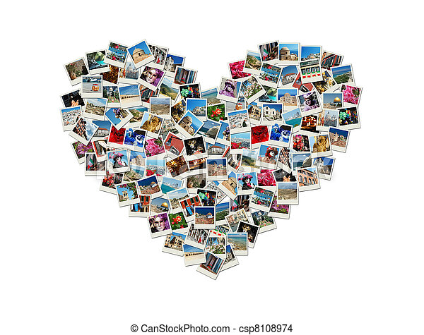 Travel passion - heart shaped collage made of world photos - csp8108974