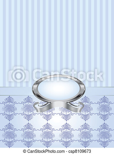 Blue Pearl with Pinstripe & Damask - csp8109673