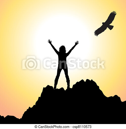 vector girl on the mountain and flying bird - csp8110573