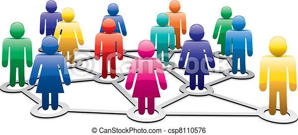 vector symbols of men and women forming network - csp8110576