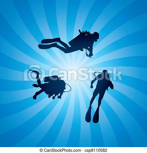 vector scuba divers underwater  - csp8110582