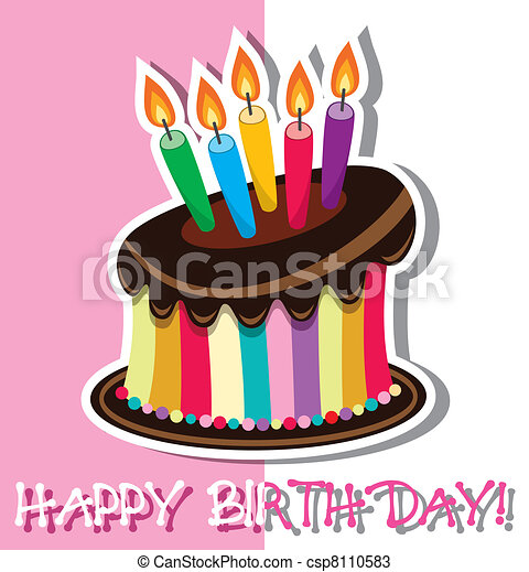 vector birthday chocolate cake - csp8110583