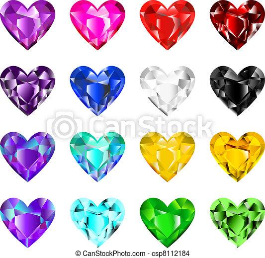 Colorful heart diamonds - csp8112184