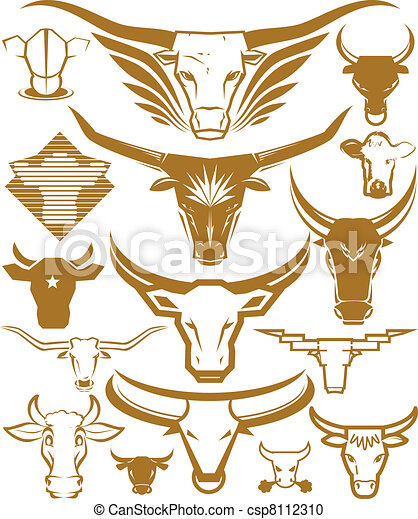 Cow and Bull Head Collection - csp8112310