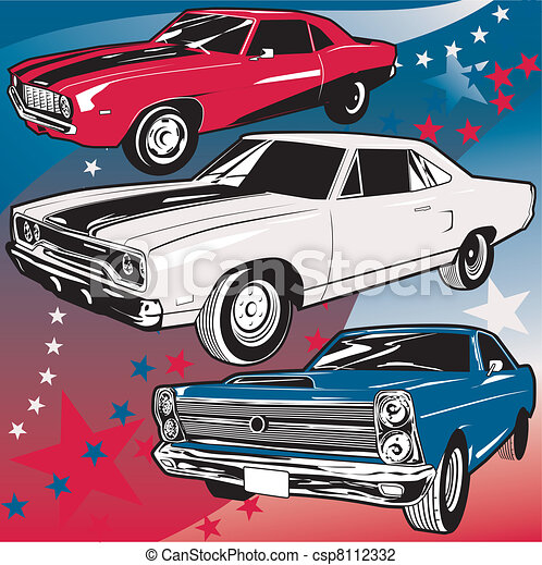 Vector Illustration Of American Muscle Cars Three Different