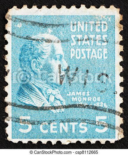stock bilder von porto usa briefmarke james 1938 monroe united csp8112665 suchen. Black Bedroom Furniture Sets. Home Design Ideas