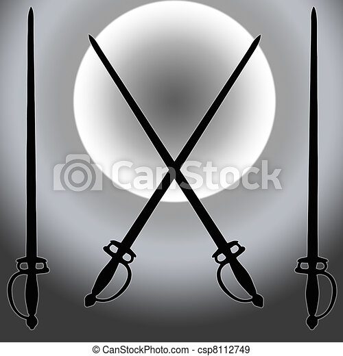 Coat of Arms Siver Sun Sword Silhouette - csp8112749