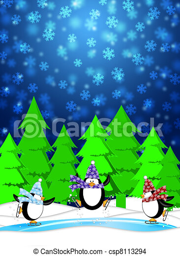 Three Penguins Skating in Ice Rink Snowing Winter Scene Illustration Blue Background - csp8113294