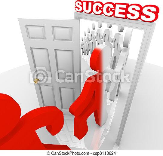 People Walking Through Success Doorway Achieve Goals - csp8113624