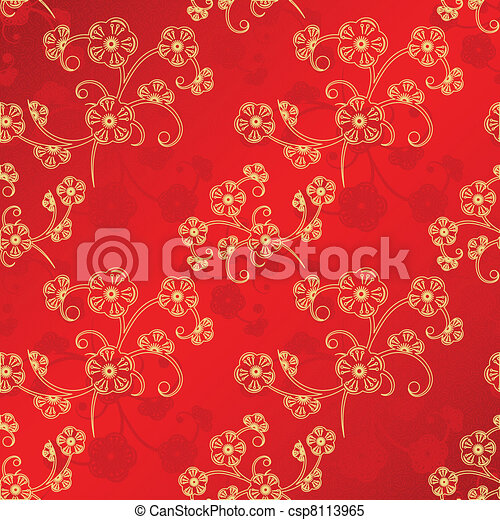 Oriental Chinese New Year seamless pattern - csp8113965