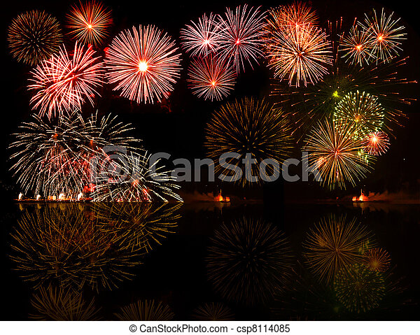 Set of colorful fireworks. Good for your object or text or year numbers in the center, e.g.2012 - csp8114085