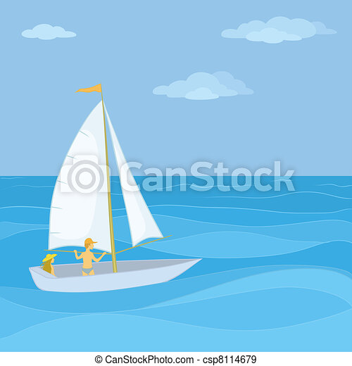 - Sailing boat with a people - stock illustration, royalty free ...