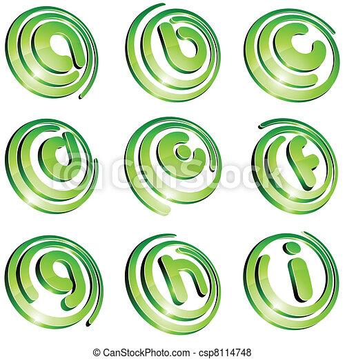 Green vibrant logo set. - csp8114748