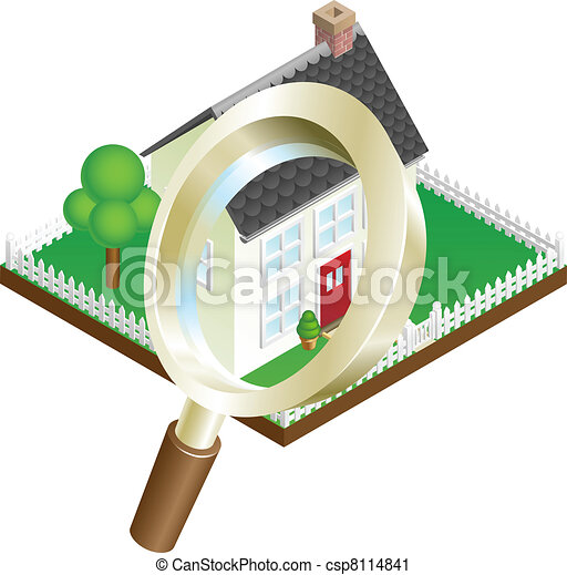 Magnifying glass house search concept - csp8114841