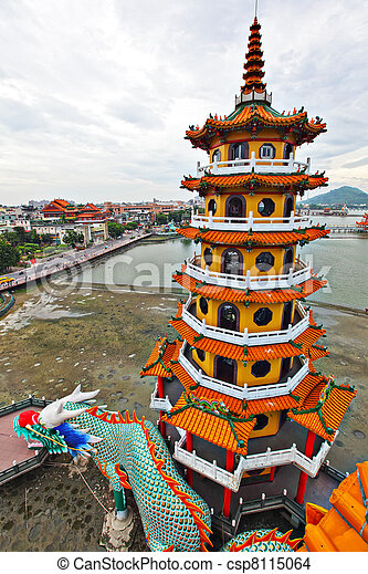 Dragon Tiger Tower in Taiwan - csp8115064