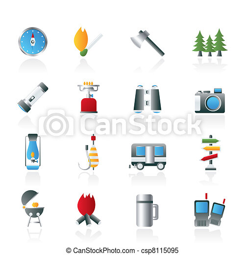 Camping, travel and Tourism icons - csp8115095