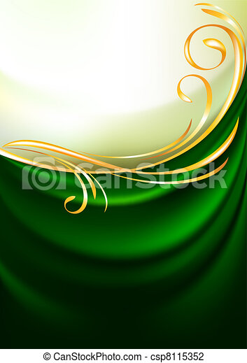 Green fabric curtain, background - csp8115352