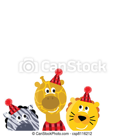 Cute safari christmas animals isolated on white background - csp8116212