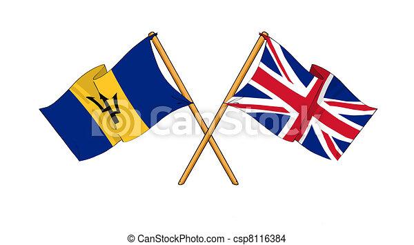 Cartoon Like  Desenhos  Bandeiras  Mostrando  Amizade  Entre  Barbados