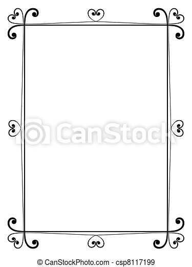 calligraphy ornamental decorative frame with heart - csp8117199