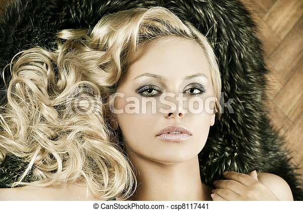 alluring sensual girl with blond curly hair - csp8117441