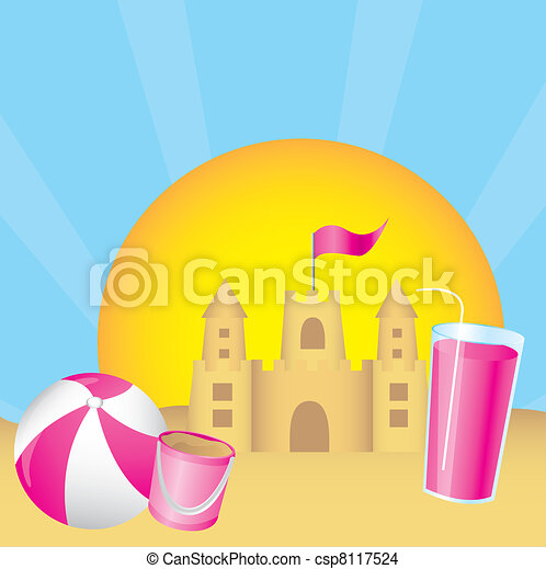 Vector - sandcastle - stock illustration  royalty free illustrations    Sandcastle Icon