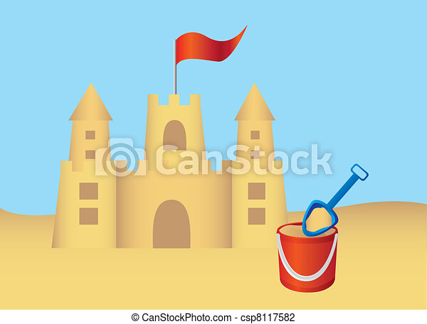 Vector - Sandcastle and shovel vector - stock illustration  royalty    Sandcastle Icon