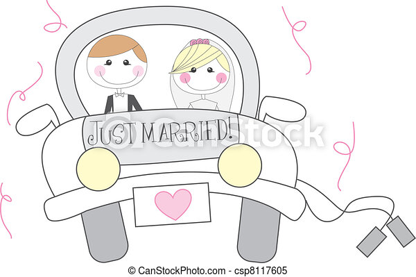 just married cartoon - csp8117605
