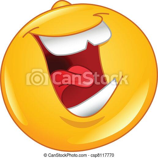 Emoticon, laut, lachender, heraus - csp8117770