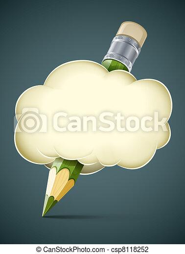 creative artistic concept pencil in cloud - csp8118252
