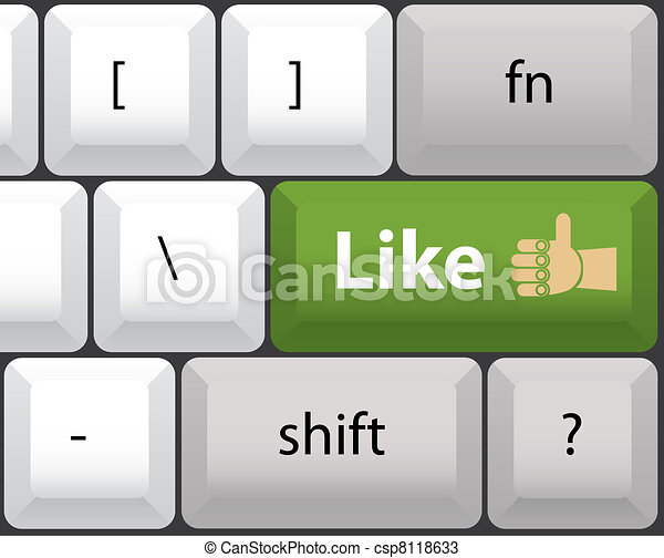 Keyboard with like button - illustration - csp8118633