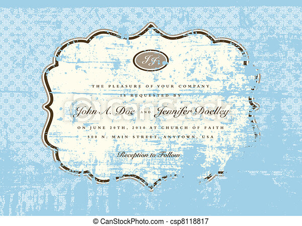 Vector Distressed Blue Pattern and Frame - csp8118817