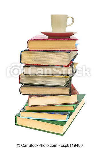 stack of books and coffee cup on white background - csp8119480