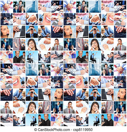 Business people group collage. - csp8119950