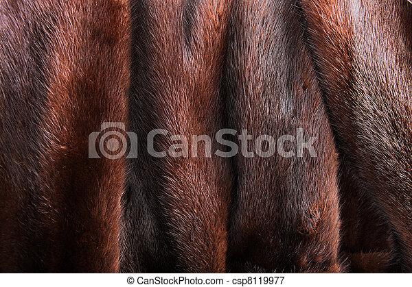 A close up of a natural brown mink coat
