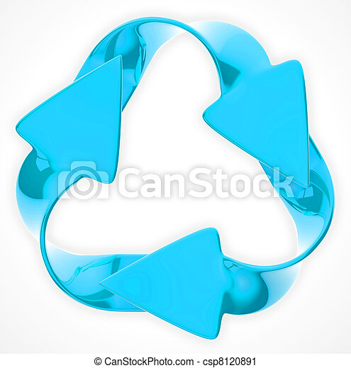 Environmental sustainability: blue recycling sign - csp8120891