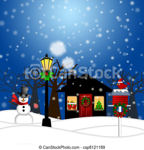 Stock Illustration of House with Lamp Post Snowman and Birdhouse ...