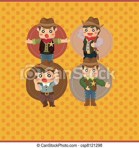 cartoon cowboy card - csp8121298