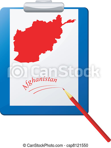 Vector illustration of the clipboard with a map of Afghanistan - csp8121550