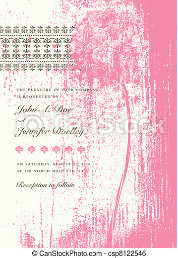 Vector Distressed Pink Bouquet Invitation - csp8122546