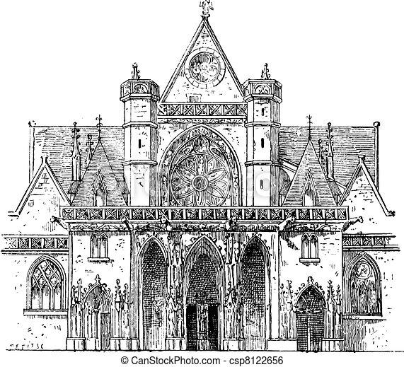Porch, SAINT-Germain l'Auxerrois, Paris, vintage engraving. - csp8122656