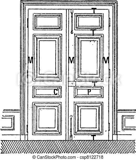 Door with two leaves C, Door, C, frame, M, Amount, P, billboards, T-rails, vintage engraving. - csp8122718
