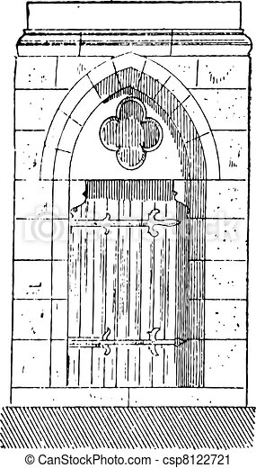 The gate of Cathedral of Our Lady of Chartres vintage engraving - csp8122721